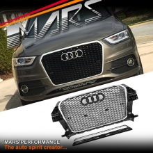 Chrome Black Honeycomb RS-Q3 Style Front Bumper Bar Grille for AUDI Q3 8U 2012-2014