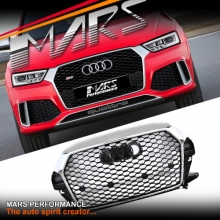 Chrome Black Honeycomb RS-Q3 Style Front Bumper Bar Grille for AUDI Q3 8U MY15-MY17