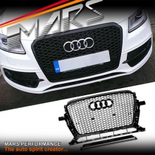 Gloss Black Honeycomb RS-Q5 Style Front Bumper Bar Grille for AUDI Q5 8R 13-16