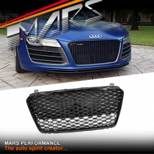 Gloss Black Honeycomb RS Style Front Bumper Bar Grille for AUDI R8 MY13-MY15