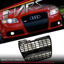 GLOSS BLACK S8 S4 STYLE FRONT GRILLE FOR AUDI A4 B7 S-LINE