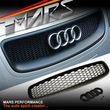 MATT BLACK RS HONEYCOMB STYLE FRONT BUMPER BAR GRILLE FOR AUDI TT 8N 99-06