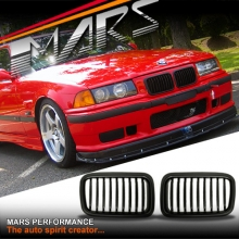 Matt Black M3 style Front Kidney Grille for BMW E36 91-96 Sedan Coupe Convertible