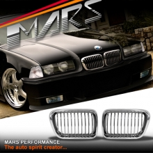 Chrome M3 style Front Grille for BMW E36 97-98 Sedan Coupe Convertible