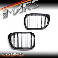 Gloss Black M4 Double Stripe Style Front Bumper Bar Grille for BMW 5 Series E39 Sedan & Wagon