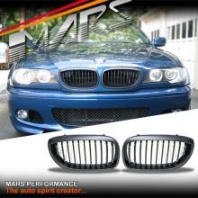 Matt Black Front Bumper Bar Kidney Grille for BMW E46 2D Coupe 03-05 Facelift LCi