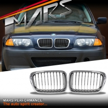 Chrome M3 style Front Kidney Grille for BMW E46 4D Sedan 98-01 Pre LCI Facelift model