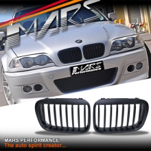 Matt Black M6 style Front Kidney Grille for BMW E46 4D Sedan 98-01 Pre LCI Facelift model
