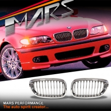 Chrome M3 style Front Kidney Grille for BMW E46 4D Sedan 02-04