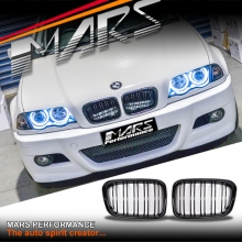 Gloss Black M4 style Front Kidney Grille for BMW E46 4D Sedan 98-01 Pre LCI Facelift model