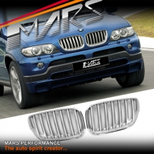 Chrome Silver X5M Style Front Kidney Grille for BMW X5 E53 LCI 04-06