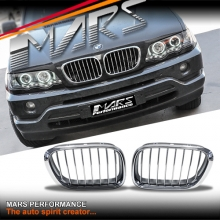 Chrome Silver M Style Front Kidney Grille for BMW X5 E53 00-03 Pre LCI