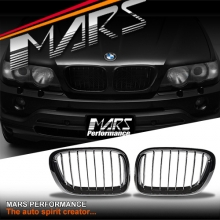 Gloss Black M Style Front Kidney Grille for BMW X5 E53 00-03 Pre LCI