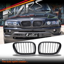 Matt Black M Style Front Kidney Grille for BMW X5 E53 00-03 Pre LCI