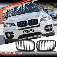 Gloss Black F86 X5M X6M Style Duel Stripe Front Kidney Grille for BMW X5 E70 & X6 E71