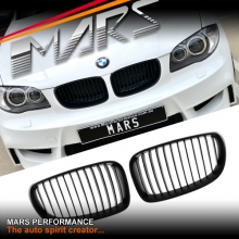 Matt Black 1M style Front Kidney Grille for BMW E87 E81 E82 E88 08-13