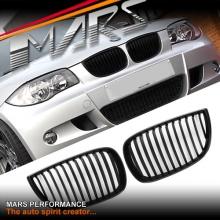Matt Black 1M Style Front Kidney Grille for BMW E87 E81 Hatch Pre LCI 04-10