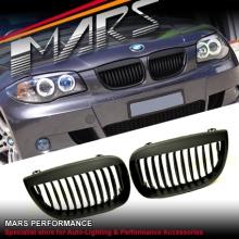 Matt Black M6 Style Front Kidney Grille for BMW E87 E81 Pre LCI Hatch 04-10