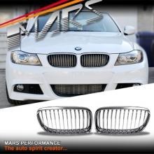 Chrome Silver M3 style front grille for BMW E90 Sedan & E91 Wagon 09-11 LCI
