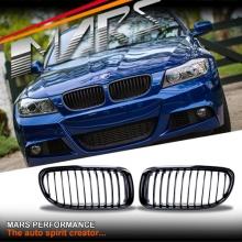 Gloss Black M3 style front grille for BMW E90 Sedan & E91 Wagon 09-11 LCI