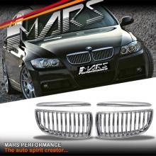 Chrome Silver M3 style Front Bumper Bar Kidney Grille for BMW E90 Sedan & E91 Wagon Pre LCI 05-08