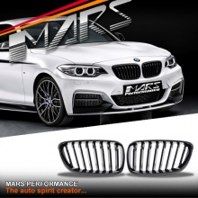 Gloss Black M Sport M Performance Front Bumper Bar Kidney Grille for BMW 2 Series F22 F23