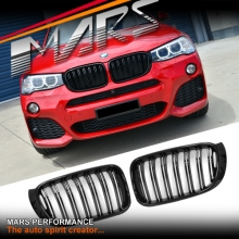 Gloss Black M4 Style Front Kidney Grille for BMW X4 F26 & X3 F25 LCI Facelift 14+