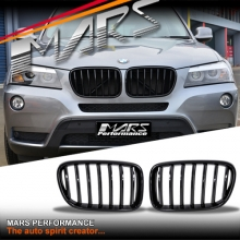 Gloss Black M Style Front Bumper bar Kidney Grille for BMW X3 F25 10-14 Pre LCI