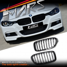M Sport Style Gloss Black Front Bumper Bar Kidney Grille for BMW 3 Series F30 F31