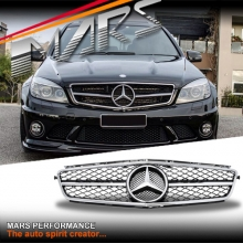 Chrome Black update Style Front Bumper Grille for Mercedes-Benz W204 AMG C63 07-11