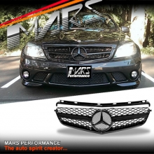 Gloss Black update Style Front Bumper Grille for Mercedes-Benz W204 AMG C63 07-11