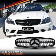 Matt Black update Style Front Bumper Grille for Mercedes-Benz W204 AMG C63 07-11