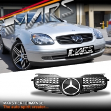 Chrome Black AMG Style Front Bumper Bar Grille for Mercedes-Benz SLK R170 Convertible