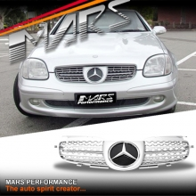 Chrome Silver AMG Style Front Bumper Bar Grille for Mercedes-Benz SLK R170 Convertible