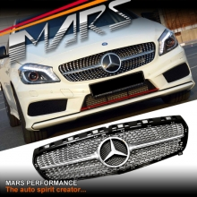 Chrome Silver Diamond Star A250 Style Radiator Grille for Mercedes-Benz A-Class W176 12-15