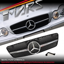 Chrome Black AMG C63 Style Front Grille for Mercedes-Benz C-Class W203 Sedan