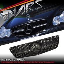 Matt Black AMG C63 Style Front Grille for Mercedes-Benz C-Class W203 Sedan