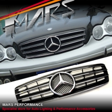 Chrome Black CL4 Style Front Grille for Mercedes-Benz C-Class W203 Sedan