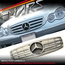 Chrome Silver CL4 Style Front Grille for Mercedes-Benz C-Class W203 Sedan