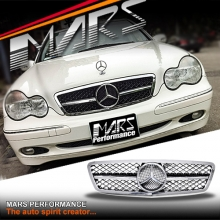 Chrome Black AMG SLS Style Front Grille for Mercedes-Benz C-Class W203 Sedan & Wagon