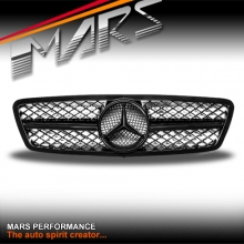 Gloss Black AMG SLS Style Front Grille for Mercedes-Benz C-Class W203 Sedan