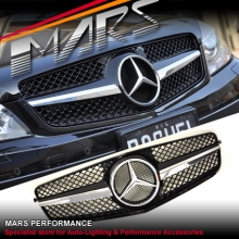 Chrome Black SLS Style Front Grille for Mercedes-Benz C-Class W204 Sedan 07-10