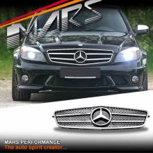 Chrome Black AMG C63 Style Front Grille for Mercedes-Benz C-Class W204 Sedan Wagon 07-10