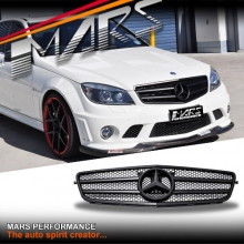 Matt Black AMG C63 Style Front Grille for Mercedes-Benz C-Class W204 Sedan Wagon 07-10
