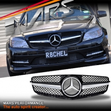 Chrome Black SLS Style Front Bumper Bar Grille for Mercedes-Benz C-Class W204 Sedan Wagon 07-10