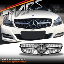 Chrome Black Diamond Star Style Front Bumper bar Grille for Mercedes-Benz C-Class W204