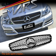 Black Chrome AMG C63 Style Front Grille for Mercedes-Benz C-Class W204 Sedan 11-14 & C204 Coupe.