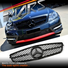 Gloss Black AMG C63 Style Front Grille for Mercedes-Benz C-Class W204 Sedan 11-14 & C204 Coupe