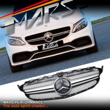 Silver Black AMG C63-S Style Front Bumper Bar Grille for Mercedes-Benz C-Class W205 Sedan & C205 Coupe