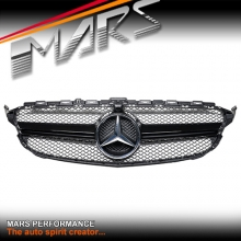 Gloss Black C63-S Style Front Bumper Bar Grille for Mercedes-Benz C-Class W205 Sedan & S205 Wagon